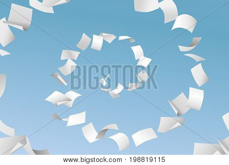 Vector empty papers flying in spiral on blue sky background - paperwork office documents