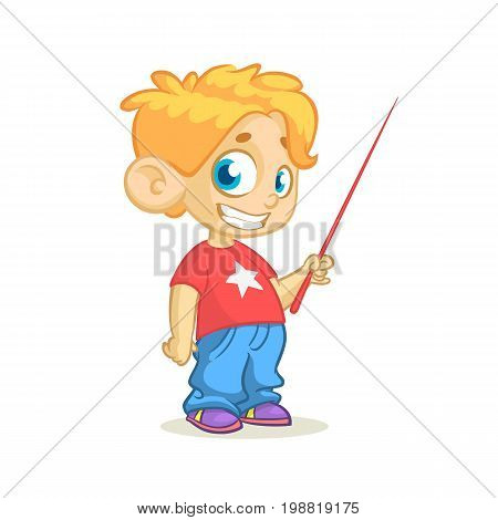 Cartoon little cute blond boy character presenting with a pointer. Vector illustration of a small boy presenting. Presentation clip art