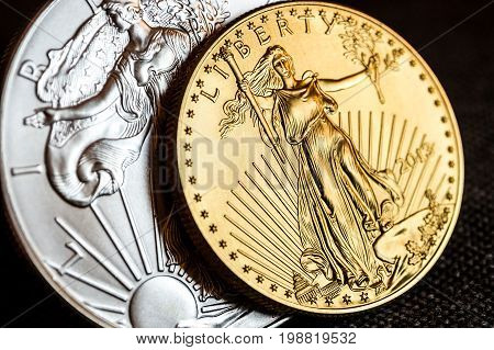Silver Eagle And Golden American Eagle One Ounce Coins