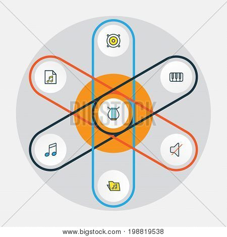 Multimedia Colorful Outline Icons Set. Collection Of Keys, Sound, Harp And Other Elements