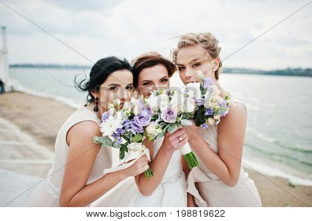 Stunning Bride With Pretty Bridesmaids Posing With Bouquets On The Lakeside.