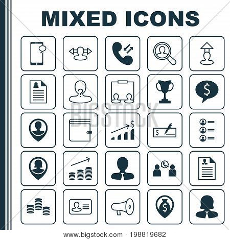 Management Icons Set. Collection Of Talking, Location, Deal And Other Elements