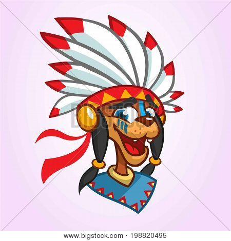 A cartoon illustration of a Native American icon. Vector illustration of native american chief with feathers on his head