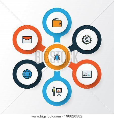 Business Colorful Outline Icons Set. Collection Of World, Team, Message And Other Elements