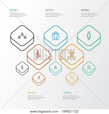 Person Outline Icons Set. Collection Of Climbing, Female, Business And Other Elements