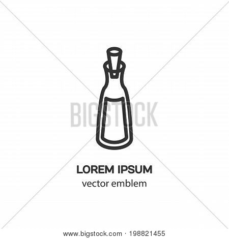 Clean and minimalistic symbol bottle with stopper. Modern easy to edit template.