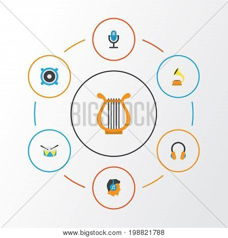 Music Flat Icons Set. Collection Of Male, Band, Ear Muffs Elements