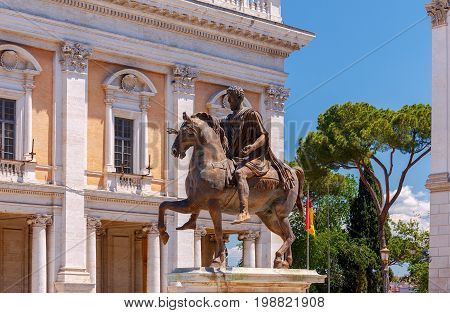 A view of the Capitol Square in a sunny day. Rome. Italy.