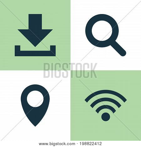 Social Icons Set. Collection Of Pin, Down Arrow, Wireless Connection And Other Elements