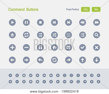 Command Buttons - Granite Icons  A set of 28 professional, pixel-perfect vector icons designed on a 32x32 pixel grid and redesigned on a 16x16 pixel grid for very small sizes.
