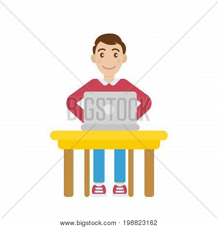Vector flat character cartoon man working laptop
