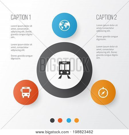Exploration Icons Set. Collection Of Guide, Transport, Railway Carriage And Other Elements
