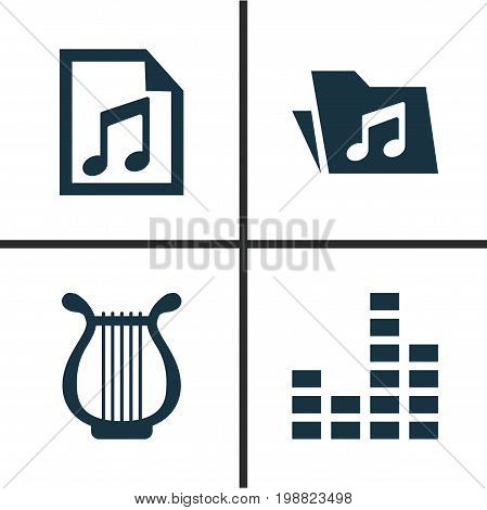 Multimedia Icons Set. Collection Of Dossier, File, Lyre And Other Elements