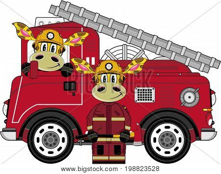 Giraffe Fireman & Engine.eps