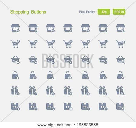 Shopping Buttons - Granite Icons  A set of 28 professional, pixel-perfect vector icons designed on a 32x32 pixel grid and redesigned on a 16x16 pixel grid for very small sizes.