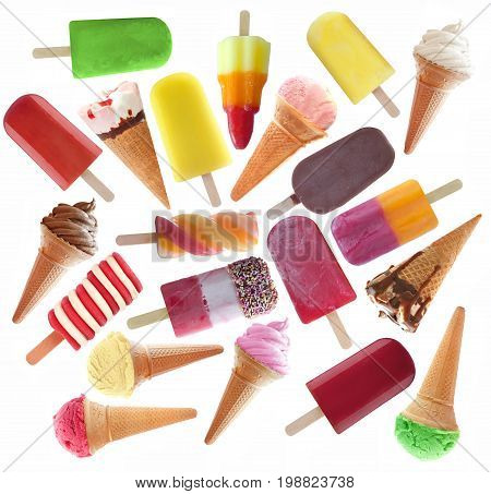 Large collection of frozen ice popsicles and icecream over a white background
