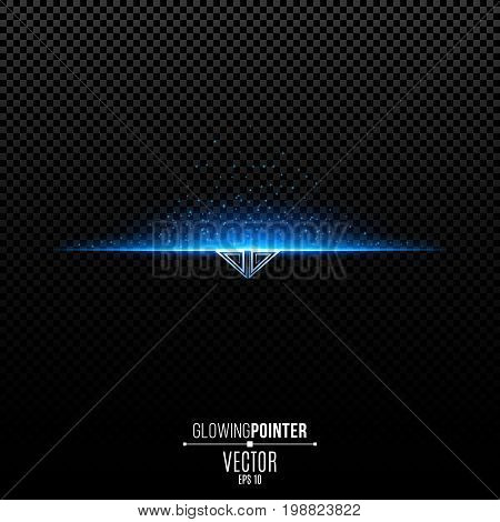 Abstract glowing blue pointer with pattern down. Magic arrow with illumination and glowing lights with particles. Pointer for the player interface. Interface Element. Vector illustration