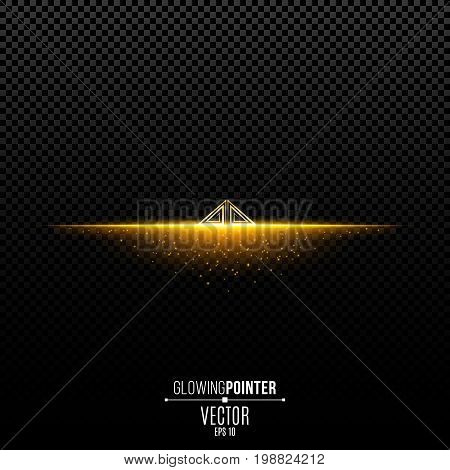 Abstract glowing golden pointer with pattern up. Magic arrow with illumination and glowing lights with particles. Pointer for the player interface. Interface Element. Vector illustration