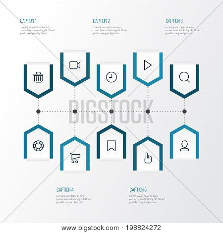 Interface Outline Icons Set. Collection Of Cart, Bookmark, Hand Elements