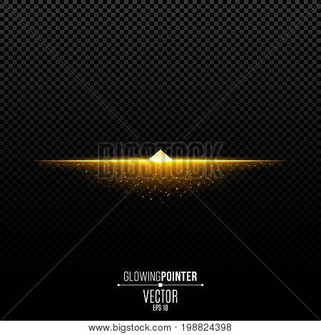 Abstract glowing golden pointer up. Magic arrow with illumination and glowing lights with particles. Pointer for the player interface. Interface Element. Vector illustration
