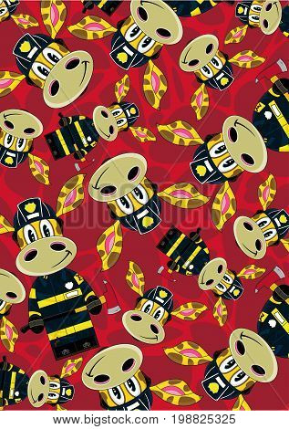 Cute Cartoon Giraffe Fireman - Firefighter Pattern Vector Illustration