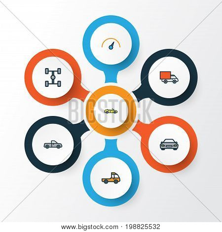Auto Colorful Outline Icons Set. Collection Of Pickup, Sport, Speed And Other Elements