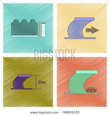 assembly flat shading style icon of nature disaster tsunami