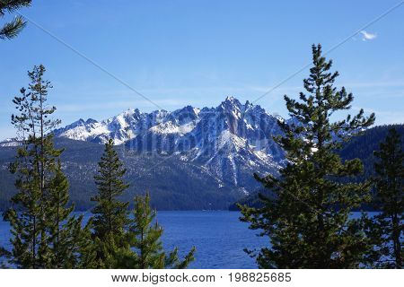 Mt. McGowan and Redfish Lake in Idaho's Sawtooth Mountains, near Stanley.