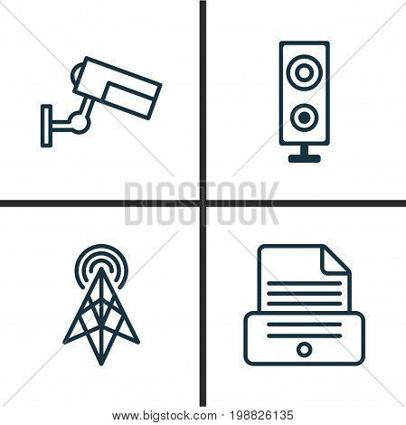 Gadget Icons Set. Collection Of Surveillance, Speaker, Print Device And Other Elements