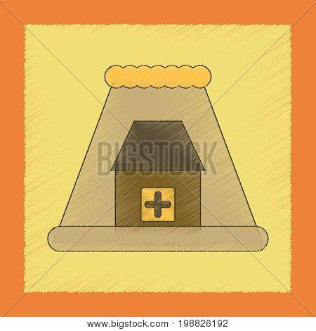 flat shading style icon of tsunami city