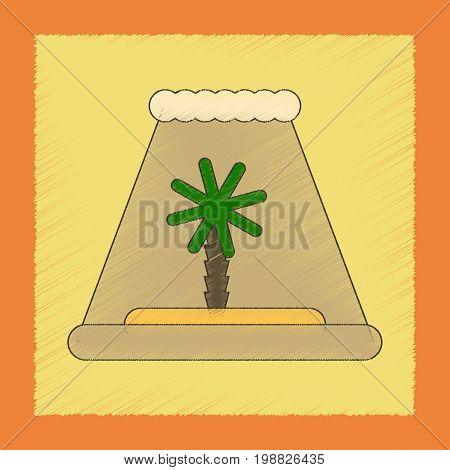 flat shading style icon of tsunami Island