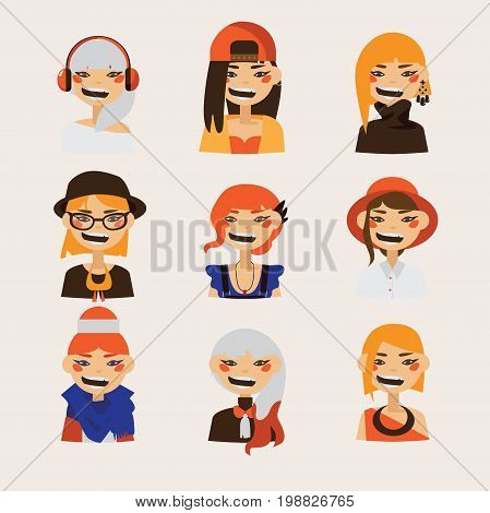 Vector set with female hipster avatars smiling and watching at spectator. Bright characters with various hairstyle and clothes hats and coloring