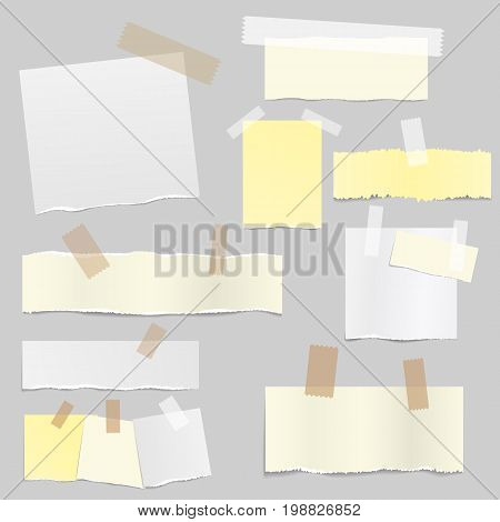 Paper banners with notes set attached with sticky colorful tape isolated realistic vector illustration. Pieces of different size ripped note, notebook, copybook sheets stuck with sticky tape