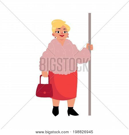Plump middle age woman, housewife with purse standing in subway, holding handrail, cartoon vector illustration isolated on white background. Full length portrait of funny plump, obese woman in subway