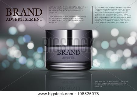 Beauty anti aging cream ad. Cosmetics package design. 3d vector beauty illustration. Moisturizing facial cream mask glass jar on bokeh background. Product package mock-up