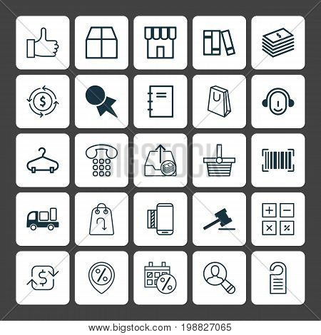 Commerce Icons Set. Collection Of Spiral Notebook, Employee, Cardboard And Other Elements