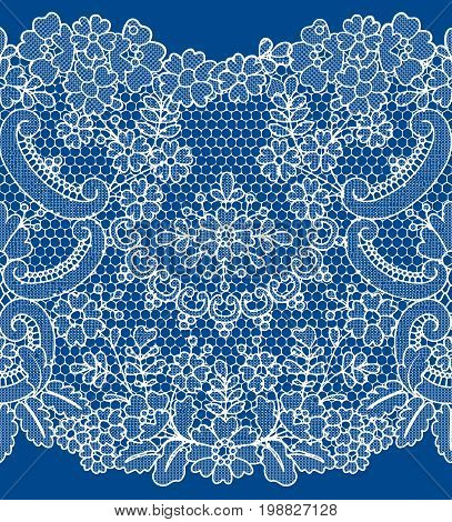 Horizontally seamless white lace with floral pattern on dark blue background