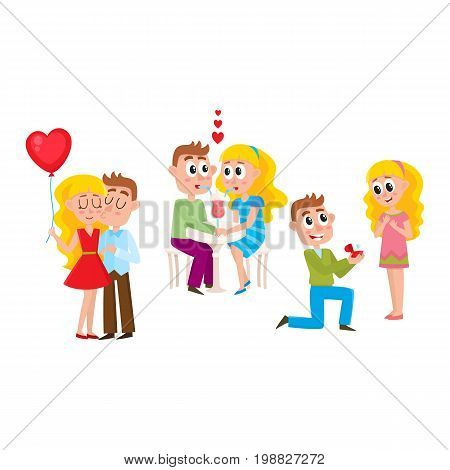 Loving couple - kissing, dating, making proposal, romantic relationships, happy together, cartoon, comic vector illustration isolated on white background. Loving couple, kissing, dating, proposal