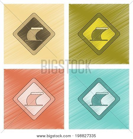 assembly flat shading style icon of tsunami sign