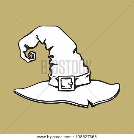 Old witch, wizard pointed hat, Halloween decoration element, sketch style vector illustration isolated on background. Hand drawn witch hat, Halloween object, decoration element