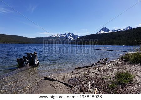 Idaho's Sawtooth Mountains and Redfish Lake, near Stanley.