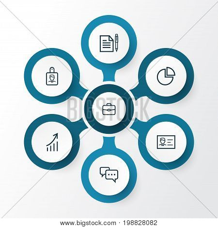 Business Outline Icons Set. Collection Of Growing Chart, Id Card, Conversation And Other Elements