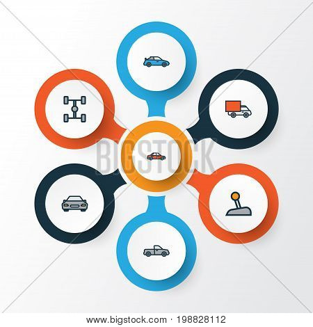 Auto Colorful Outline Icons Set. Collection Of Automobile, Car, Carcass And Other Elements