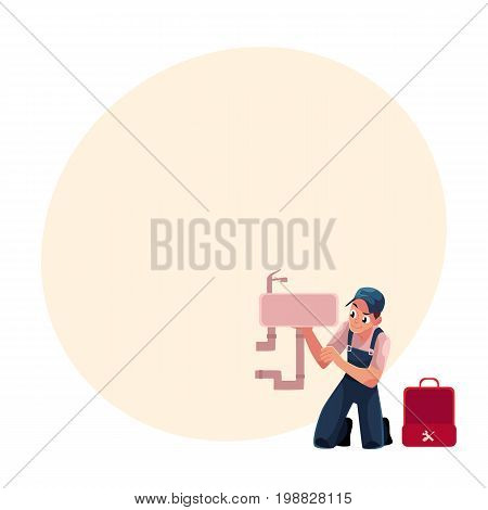 Plumbing specialist with wrench and toolbox repairing kitchen sink, bathroom wash basin, cartoon vector illustration with space for text. Plumber, plumbing specialist fixing kitchen sink
