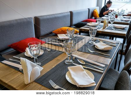 Moscow - August 5, 2017: Interior of a Thai restaurant with a table