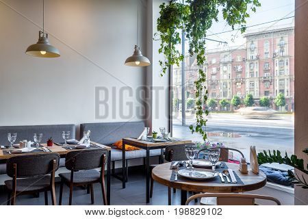 Moscow - August 5, 2017: Interior of a Thai restaurant with a window