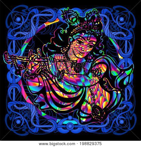 The Lord Krishna is a psychedelic painting in a retro style. Popular vintage graphics postcard and posters from the 1960s to the 1980s. Art Nouveau and Hippie art. Goa trance art. Design of T-shirts
