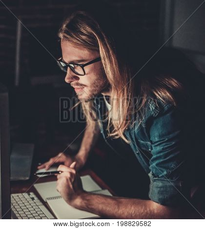 Guy Working With Computer