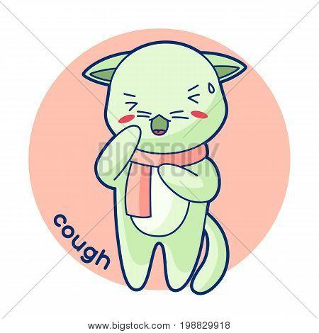 Cough sick cute kitten. Illustration of kawaii cat.