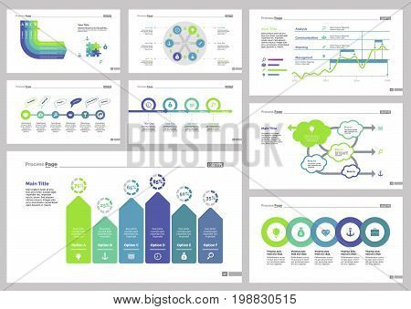 Infographic design set can be used for workflow layout, diagram, annual report, presentation, web design. Business and analytics concept with process, flow, line, bar and percentage charts.